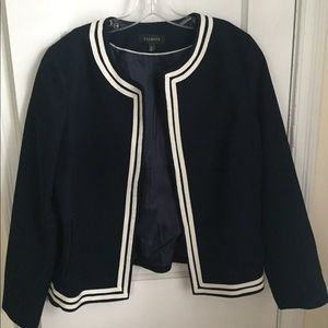Talbots navy jacket edged in cream color